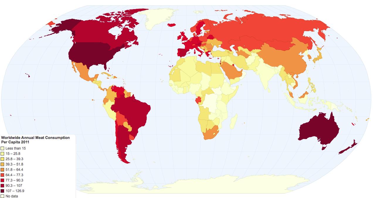 Consumo apparente (in kg) di carne pro-capite annuo nel mondo – anno 2011