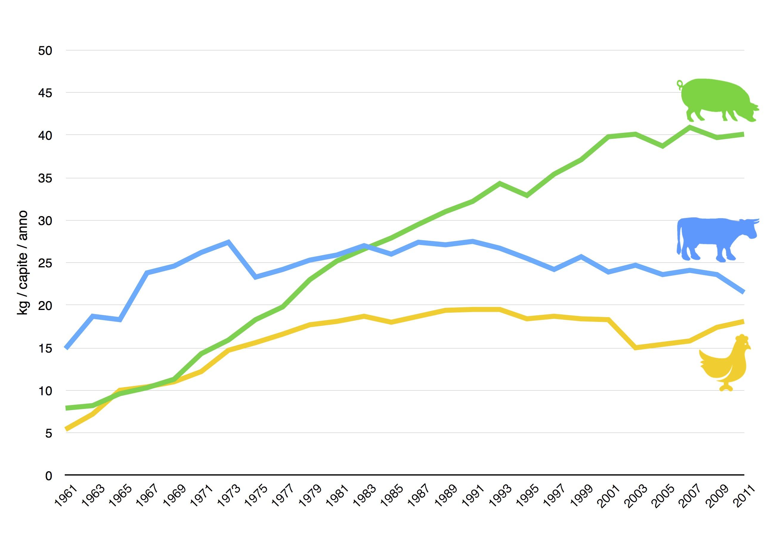 Evoluzione dei consumi apparenti di carne bovina, suina e avicola in Italia