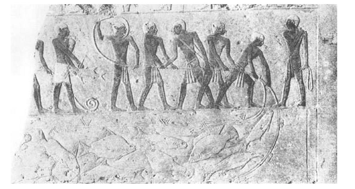 Bassorilievo sulla tomba di Aktihetep che mostra una rete da pesca sul Nilo (2500 a.C.)