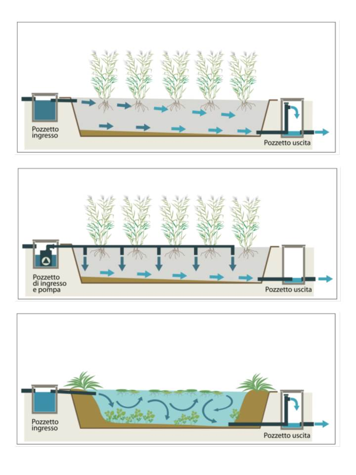 Tipologie di sistemi di fitodepurazione in relazione al percorso idraulico del refluo. Dall'alto al basso: flusso sommerso orizzontale, flusso sommerso verticale, flusso libero o superficiale