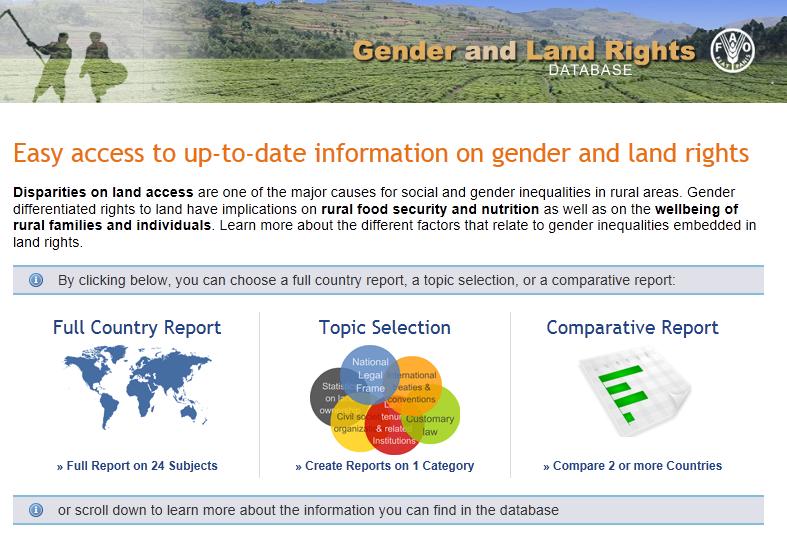 Portale FAO su diritti di accesso alla terra per le donne