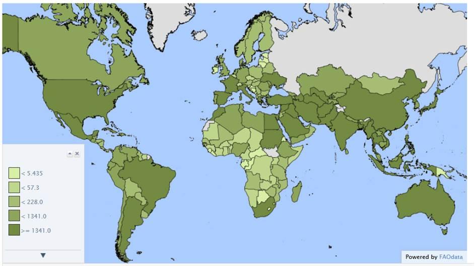 Superficie irrigua per paese (1000 di ha).