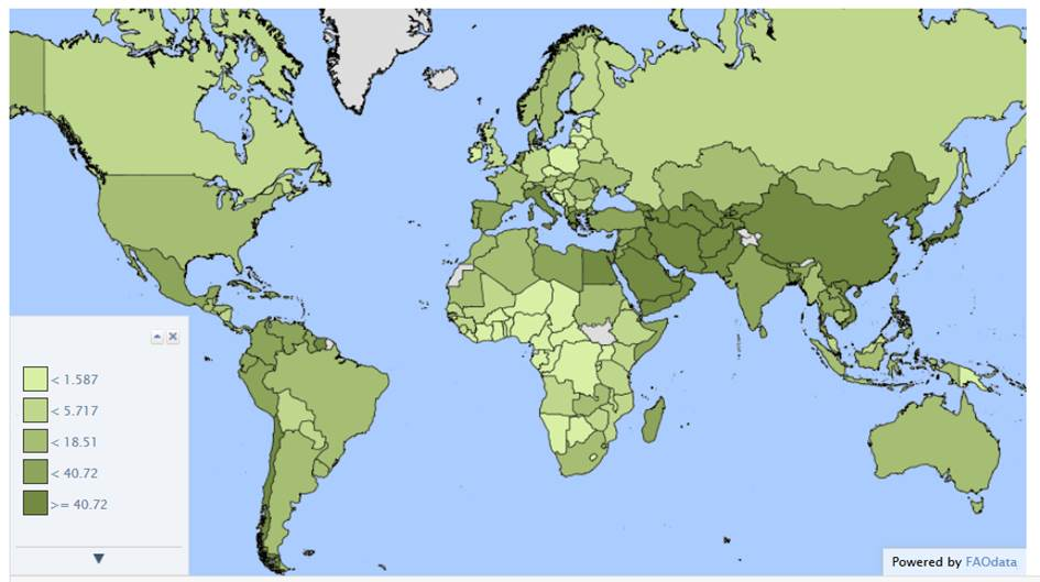 Incidenza percentuale della superficie irrigua rispetto alla superficie totale coltivata.