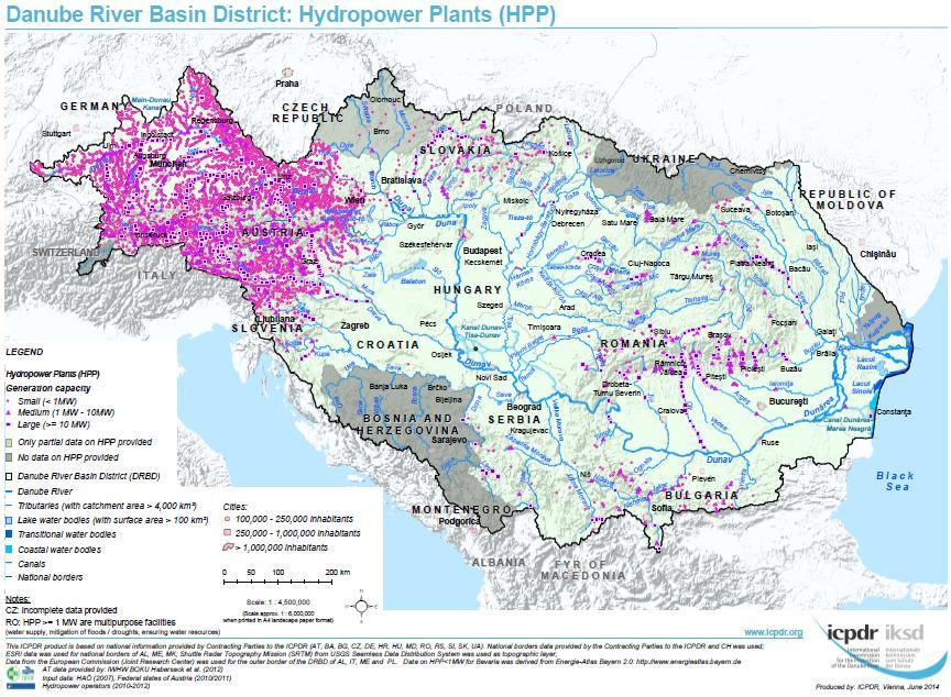 Mappa delle centrali idroelettriche sul fiume Danubio