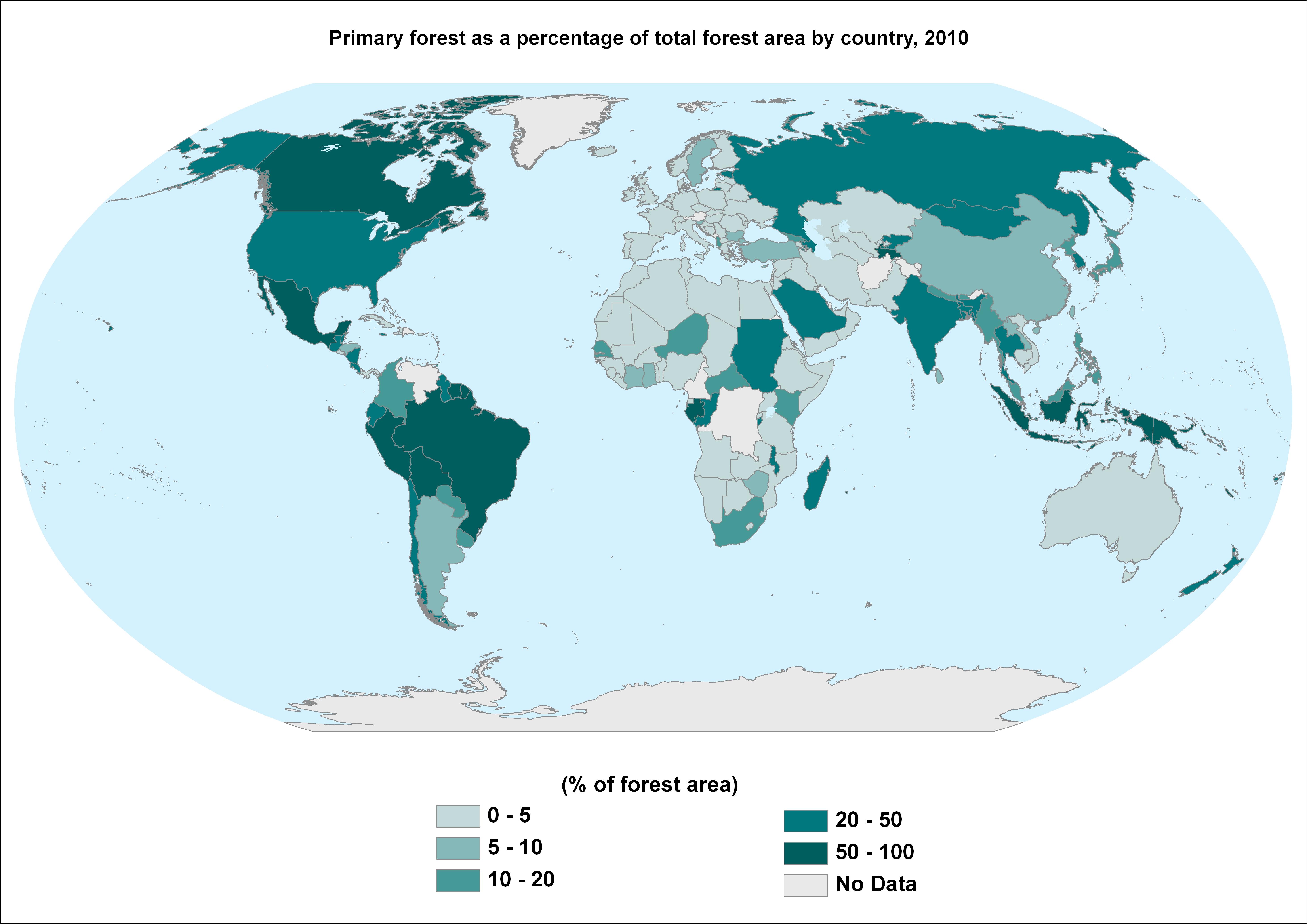 Percentuale di foreste primarie rispetto alla superficie forestale totale